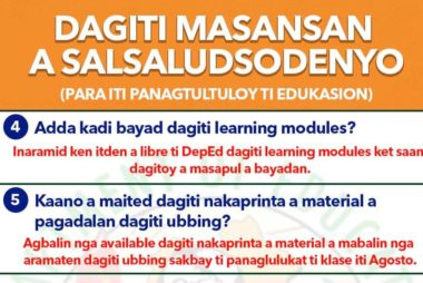 Dagiti Masansan A Salsaludsodenyo (Para iti Panagtultuloy ti Edukasyon)